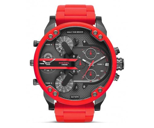 DIESEL Mr. Daddy 2.0 Red Stainless Steel Rubber Bracelet