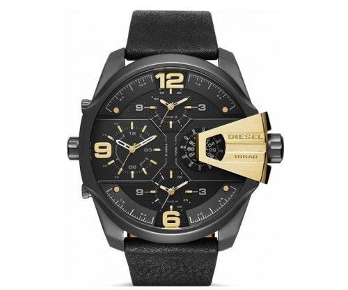 DIESEL Uber Chief, Chronograph 3 Time Zone, Black Leather strap