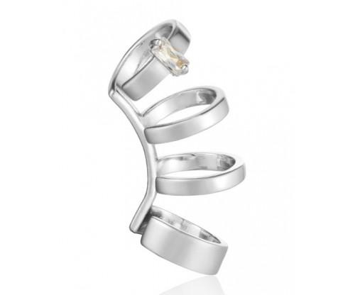 ANIA HAIE Glow Crawlre Ear Cuff, Silver, Rhodium Plated
