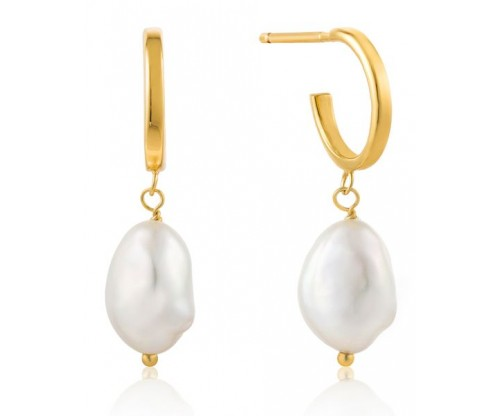 ANIA HAIE Pearl Mini Hoop Earrings, Silver, Gold-tone plated