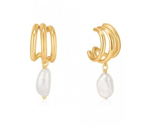 ANIA HAIE Triple Mini Hoop Earrings, Silver, Gold-tone plated
