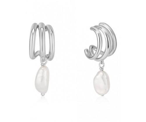 ANIA HAIE Triple Mini Hoop Earrings, Silver, Rhodium Plated