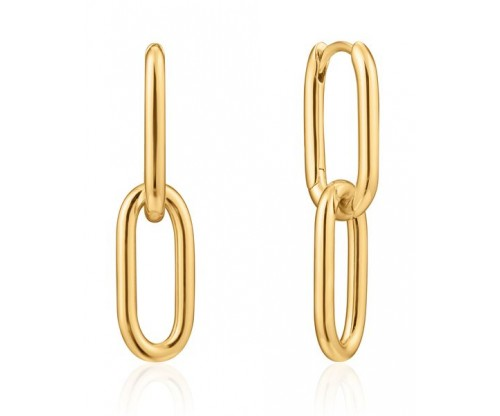 ANIA HAIE Cable Link Earrings, Silver, Gold-tone plated