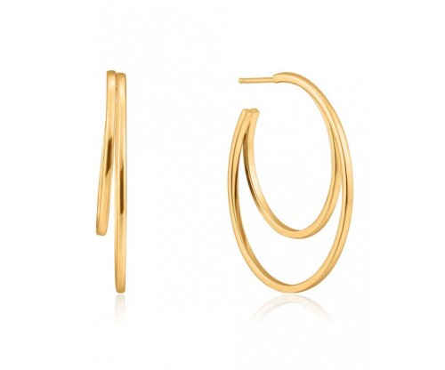 ANIA HAIE Crescent Hoop Earrings, Silver, Gold-tone plated
