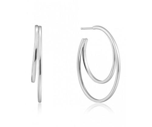 ANIA HAIE Crescent Hoop Earrings, Silver, Rhodium Plated