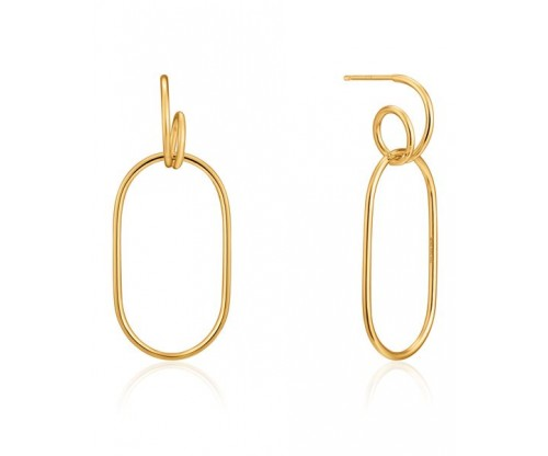 ANIA HAIE Spiral Oval Hoop Earrings, Silver, Gold-tone plated