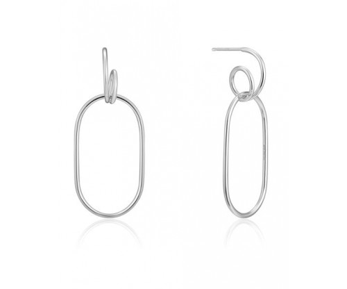 ANIA HAIE Spiral Oval Hoop Earrings, Silver, Rhodium Plated