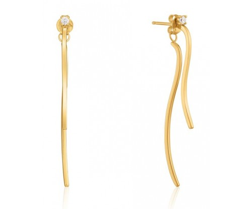 ANIA HAIE Curve Drop Bar Ear Jackets, Silver, Gold-tone plated