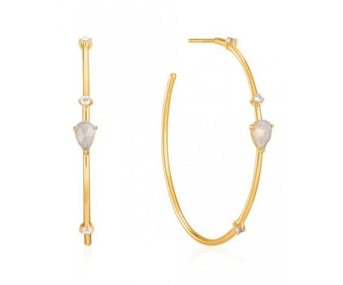 ANIA HAIE Midnight Hoop Earrings, Silver, Gold-tone plated