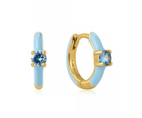 ANIA HAIE Powder Blue Enamel Huggie Hoop Earrings, Silver, Gold-tone plated
