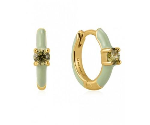 ANIA HAIE Sage Enamel Huggie Hoop Earrings, Silver, Gold-tone plated
