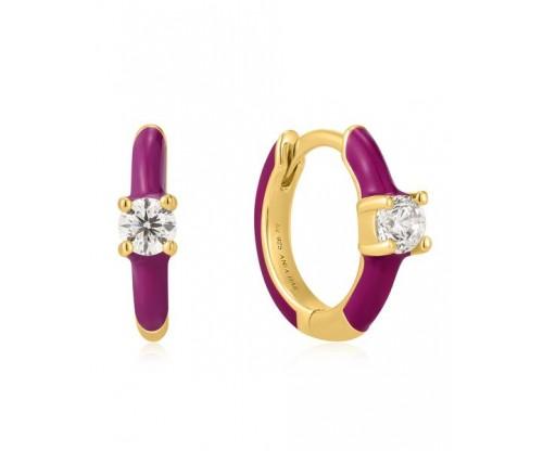 ANIA HAIE Berry Enamel Huggie Hoop Earrings, Silver, Gold-tone plated
