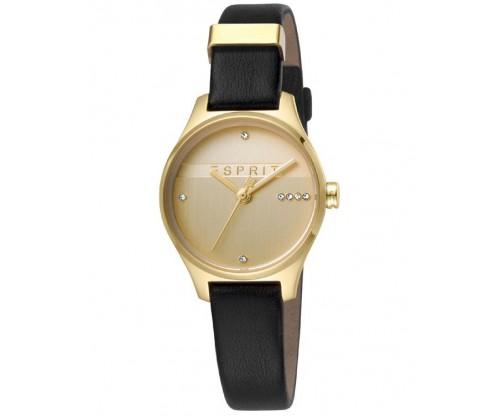 ESPRIT Essential Glam Gold Black Leather Strap