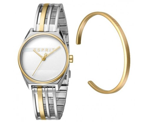 ESPRIT Shift Two Tone Gold Silver Stainless Steel Bracelet GIFT Set Bracelet