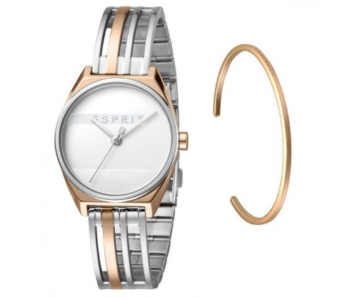 ESPRIT Shift Two Tone RoseGold Silver Stainless Steel Bracelet GIFT Set Bracelet