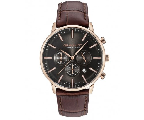 GANT Tilden Chronograph Rose Gold Leather Strap