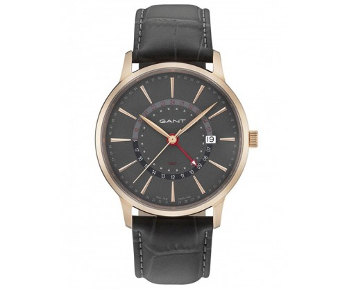 GANT Chester Rose Gold Gray Leather Strap