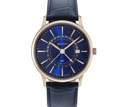 GANT Chester Rose Gold Blue Leather Strap