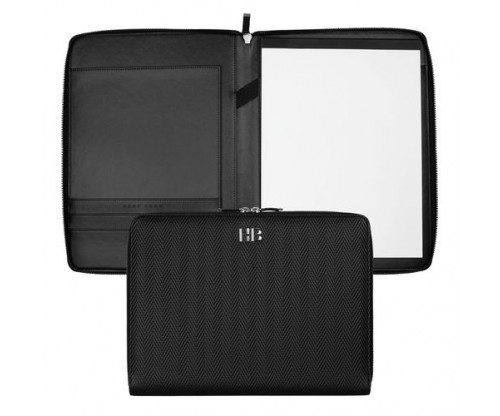 HUGO BOSS Conference folder zip A4 Herringbone Black