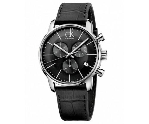 CALVIN KLEIN City Chronograph Black Leather Strap