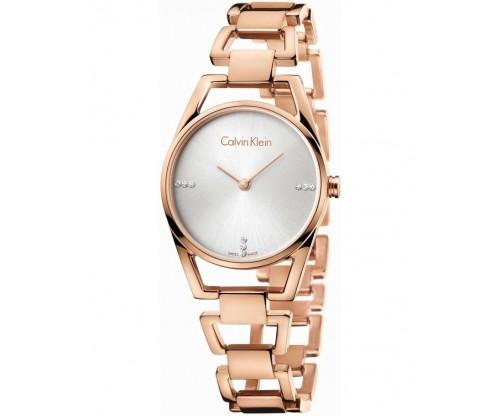 CALVIN KLEIN Dainty 9 Diamonds Rose Gold Stainless Steel Bracelet