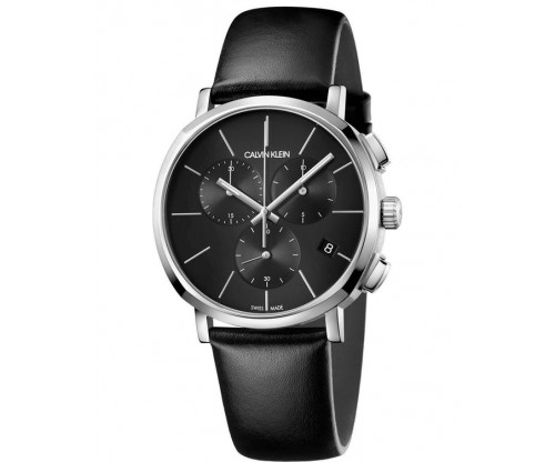 CALVIN KLEIN Posh Chronograph Black Leather Strap