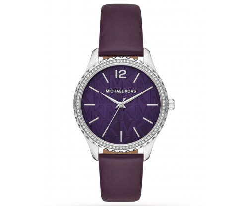 Michael KORS Layton.. Crystals Blue, Purple Leather Strap