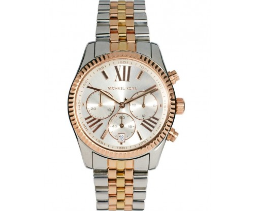 Michael KORS Lexington Chronograph Triple Tone Stainless Steel Bracelet