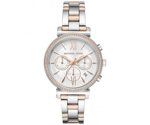 Michael KORS Sofie Chronograph Crystals Two Tone Stainless Steel Bracelet