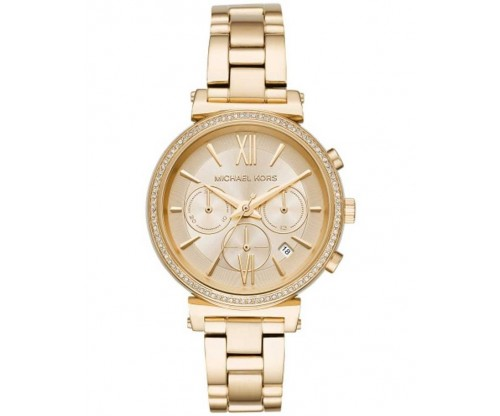 Michael KORS Sofie Chronograph Crystals Gold Stainless Steel Bracelet