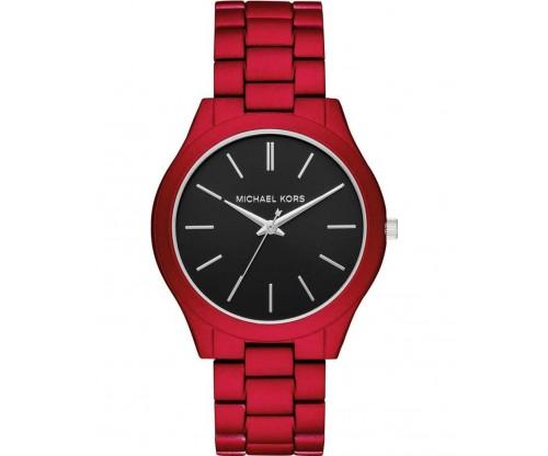 Michael KORS Mens Slim Runway.. Red Stainless Steel Bracelet