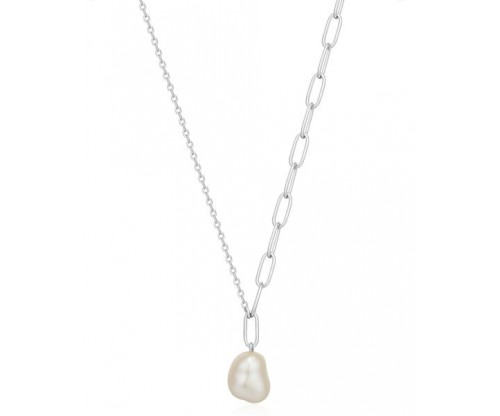 ANIA HAIE Pearl Chunky Necklace, Silver, Rhodium Plated