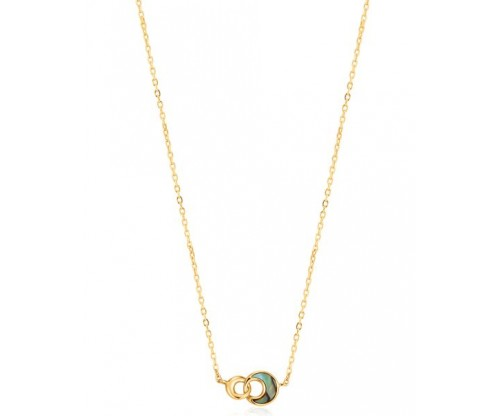 ANIA HAIE Tidal Abalone Crescent Link Necklace, Silver, Gold-tone plated