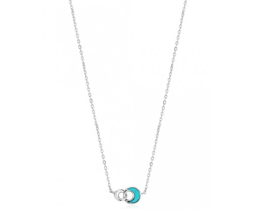 ANIA HAIE Tidal Turquoise Crescent Link Necklace, Silver, Rhodium Plated