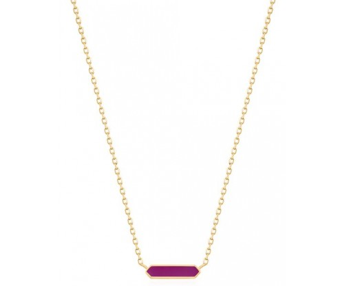 ANIA HAIE Berry Enamel Bar Necklace, Silver, Gold-tone plated
