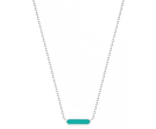 ANIA HAIE Teal Enamel Bar Necklace, Silver, Rhodium Plated
