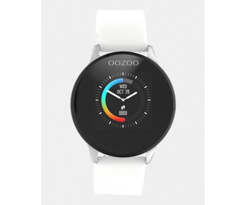 OOZOO Smartwatches silver case white rubber strap