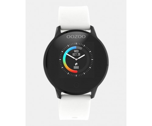 OOZOO Smartwatches black case white rubber strap