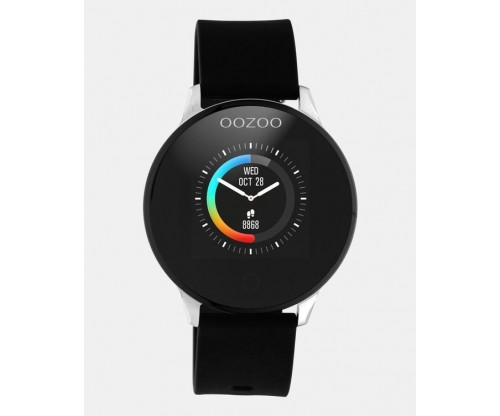 OOZOO Smartwatches silver case black rubber strap
