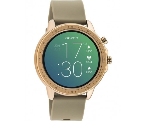 OOZOO Timepieces Smartwatch Brown Rubber Strap