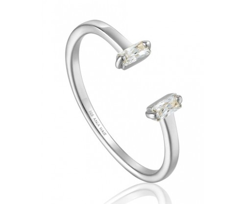 ANIA HAIE Glow Adjustable Ring, Silver, Rhodium Plated