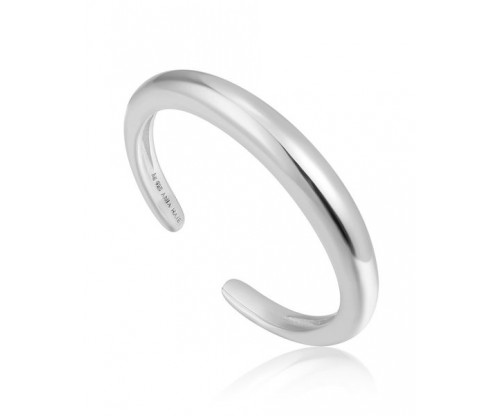ANIA HAIE Luxe Band  Adjustable Ring, Silver, Rhodium Plated