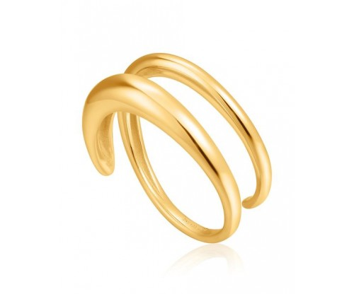 ANIA HAIE Luxe Twist Adjustable Ring, Silver, Gold-tone plated