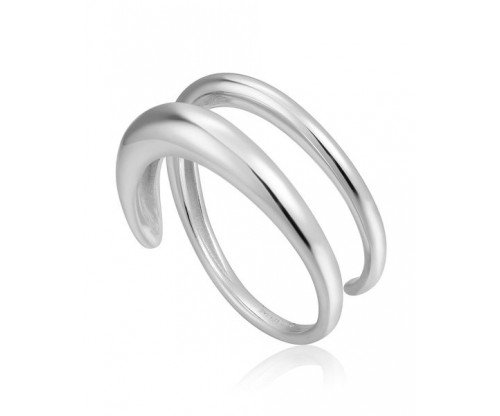 ANIA HAIE Luxe Twist Adjustable Ring, Silver, Rhodium Plated
