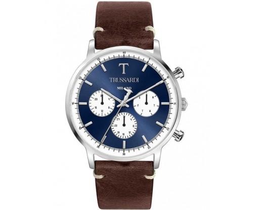 TRUSSARDI T-Gentleman Chronograph Dark Brown Leather Strap