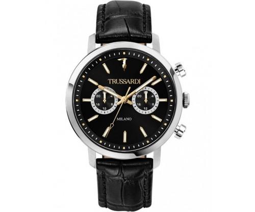 TRUSSARDI T-Couple Chronograph Black Leather Strap