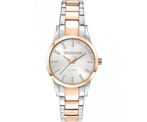 TRUSSARDI T-Bent Crystals Two Tone Stainless Steel Bracelet