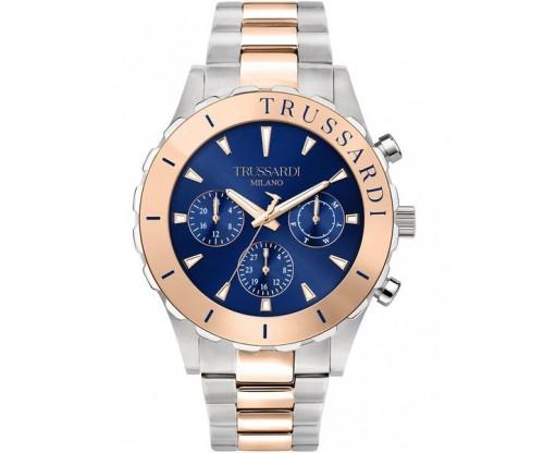 TRUSSARDI T-Logo Multifunction Two Tone Stainless Steel Bracelet