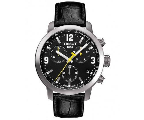 TISSOT T-Sport PRC200 Chronograph Black Leather Strap