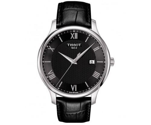 TISSOT Τ-Classic Tradition Black Leather Strap